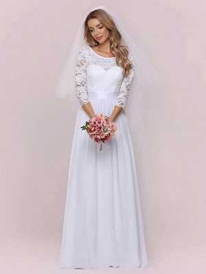 White Simple Wedding Gowns Lace Jewel Neck Lace Chiffon Half Sleeves Natural Waist A-Line Bridal Gowns_7