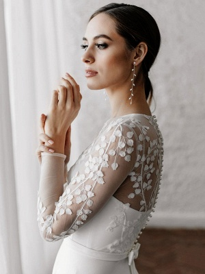White Cheap Wedding Dresses A-Line Illusion Neckline Long Sleeves Pearls Trainsatin Fabric Lace Bridal Gowns_4