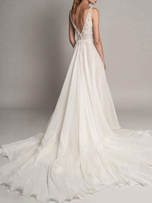 Simple Wedding Gowns 2021 A Line V Neck Sleeveless Beaded Wedding Dresseses With Train_2