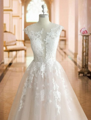 Wedding Dresses 2021 Princess Silhouette Jewel Neck Sleeveless Natural Waist Lace Soft Pink Tulle Bridal Gowns_4
