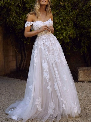 Wedding Dresses 2021 A Line Off The Shoulder Short Sleeve Lace Flora Appliqued Tulle Bridal Gown With Train_2