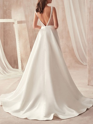 Vintage Wedding Gowns 2021 A Line V Neck Sleeveless Floor Length Pleat Bridal Gowns With Train_3