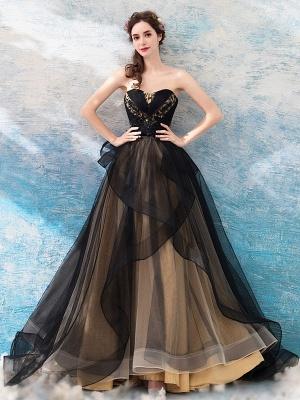 Gothic Wedding Dresses Princess Silhouette Sleeveless Pleated Tulle Sweep Bridal Dress_1