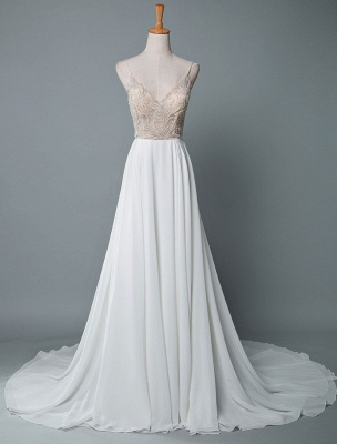 Simple Wedding Gowns A Line V Neck Sleeveless Embroidered Chiffon Bridal Gowns With Train_1