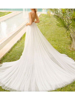 Simple Wedding Gowns With Train Mermaid Dress V Neck Sleeveless Lace Bridal Gowns_4