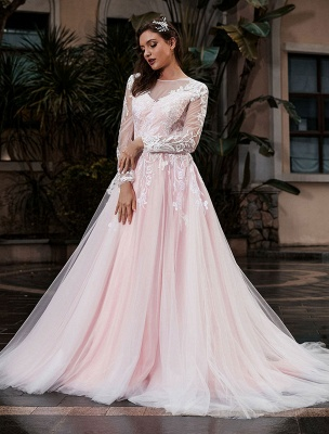 Customize Wedding Gowns With Train A-Line Long Sleeves Satin Fabric Jewel Neck Bridal Gowns_1
