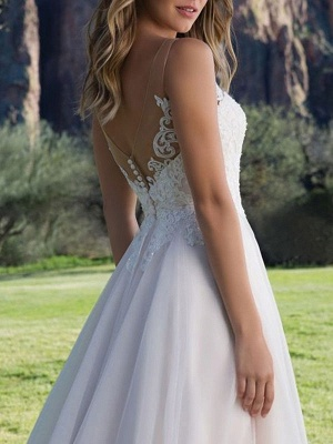 Wedding Dresses A Line V Neck Sleeveless Lace Beach Party Bridal Gowns With Train_4