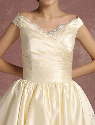 Short Wedding Gownses Satin Vintage Princess Wedding Dresses Knee Length Sleeveless Lace Edge Pleated Bridal Gown With Ribbon Bow Exclusive_9