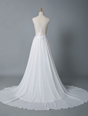 Cheap Wedding Dress A Line V Neck Sleeveless Lace Illusion Back Wedding Gowns_5