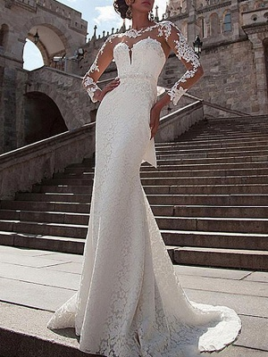 Wedding Dresses Lace Illusion Neck Long Sleeves Mermaid Bridal Gowns With Court Train_1