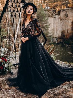 Black Bridal Dresses A-Line Designed Neckline Long Sleeves Natural Waistline Tulle Lace Sweep Bridal Gown_5