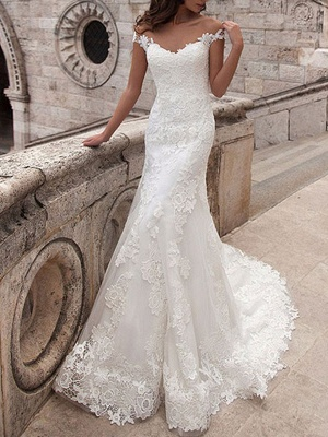 Wedding Dresses Off The Shoulder Short Sleeves Lace Mermaid Bridal Gowns With Train_1