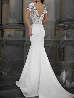 Cheap Wedding Dress Mermaid Lace V Neck Short Sleeves Beaded Sash Bridal Dresses With Train_2