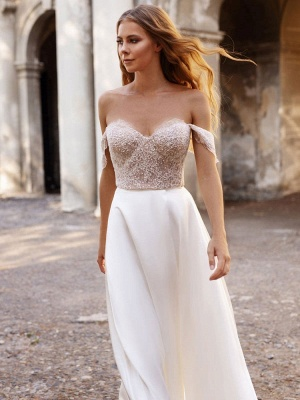 White Cheap Wedding Dresses Satin Fabric Strapless Sleeveless Cut Out A-Line Off The Shoulder Long Bridal Gowns_6