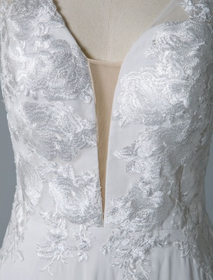 Cheap Wedding Dress A Line V Neck Sleeveless Lace Illusion Back Wedding Gowns_8