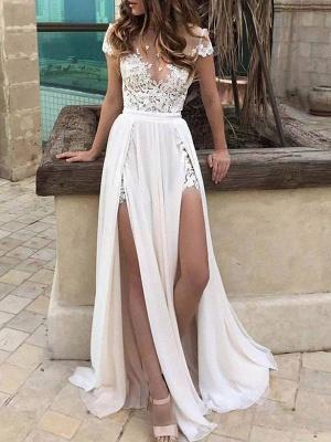 Boho Wedding Dresses 2021 Chiffon Deep V Neck Short Sleeve Lace Appliqued Split Front Beach Bridal Gowns_1