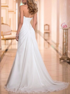 Cheap Wedding Dress Sheath Sweetheart Neck Sleeveless Pleated Bridal Dresses With Train_3