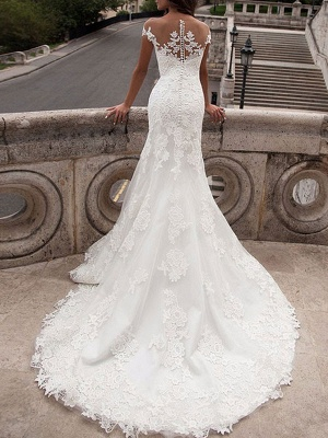 Wedding Dresses Off The Shoulder Short Sleeves Lace Mermaid Bridal Gowns With Train_2