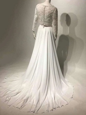 White Cheap Wedding Dress Chiffon V-Neck Long Sleeves Cut Out A-Line Split Lace Wedding Gowns_6