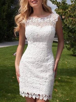 Short Wedding Dress 2021 Lace Jewel Neck Sleeveless Wedding Gowns With Panel Train_1