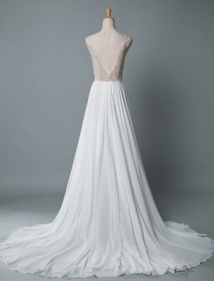 Simple Wedding Gowns A Line V Neck Sleeveless Embroidered Chiffon Bridal Gowns With Train_3