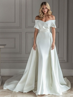White Vintage Wedding Dresses With Train Satin Off The Shoulder Wedding Dresses Pleated Mermaid Bridal Gowns_1