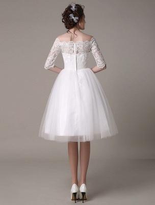 Lace Bridal Dresses 2021 Short Off The Shoulder A Line Knee Length Waist Rhinestone Bridal Dress Exclusive_6