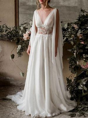 Boho Bridal Dresses 2021 Chiffon V Neck High Waist Roman Drapery Sleeve Bridal Gown_1