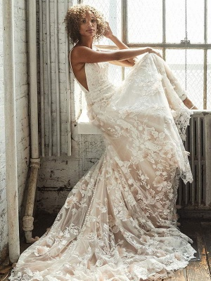 Wedding Dress With Train A Line Sleeveless Square Neck Lace Bridal Gowns_3