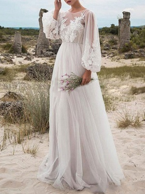 Cheap Wedding Dresses A Line Tulle Jewel Neck Long Sleeves Lace Bridal Gowns_1