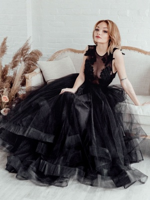 Black Bridal Dress A-Line Illusion Neckline Sleeveless Backless Applique Floor-Length Lace Tulle Bridal Gowns_7