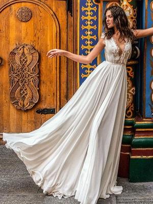White Cheap Wedding Dresses A-Line Court Train V-Neck Natural Waistline Sleeveless Chiffon Lace Bridal Gowns_2