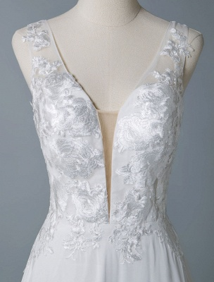 Cheap Wedding Dress A Line V Neck Sleeveless Lace Illusion Back Wedding Gowns_7