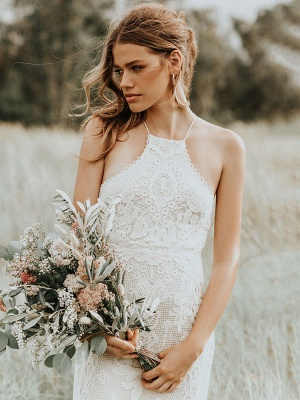 Boho Wedding Dress 2021 Lace A Line Halter Sleeveless Floor Length Bridal Gown With Train_3