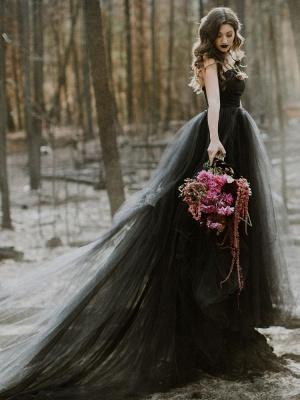 Black Wedding Gownses A-Line Strapless Pleated Taffeta Tulle Chapel Train Wedding Dresses_6