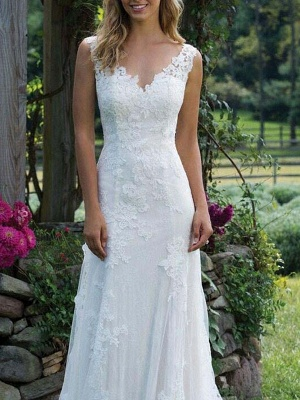 Wedding Dress Lace V Neck Sleeveless Sheath Floor Length Bridal Gown With Court Train_3