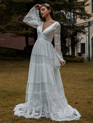 Wedding Gowns Boho Wedding Dress Long Sleeves Lace V-Neck Lace Chiffon Wedding Gowns Exclusive_1
