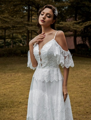 Boho Wedding Gowns Lace A-Line V-Neck Natural Waistline Beaded Wedding Gown_5
