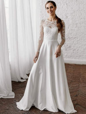 White Cheap Wedding Dresses A-Line Illusion Neckline Long Sleeves Pearls Trainsatin Fabric Lace Bridal Gowns_1