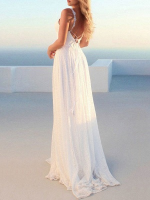Simple Wedding Gownses 2021 A Line V Neck Straps Backless Floor Length Classic Bridal Gowns_4