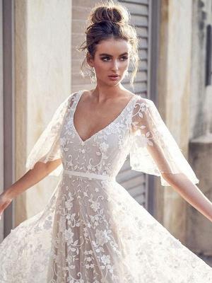 White Lace Wedding Dresses V Neck A-Line Wedding Dresses Short Sleeves Backless Bridal Gowns_4