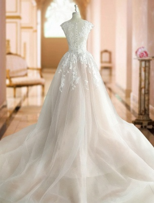 Wedding Dresses 2021 Princess Silhouette Jewel Neck Sleeveless Natural Waist Lace Soft Pink Tulle Bridal Gowns_5