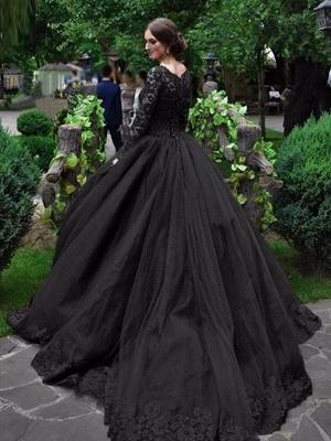 Gothic Wedding Dresses Princess Silhouette Long Sleeves Lace Taffeta Court Train Vintage Bridal Gown_1