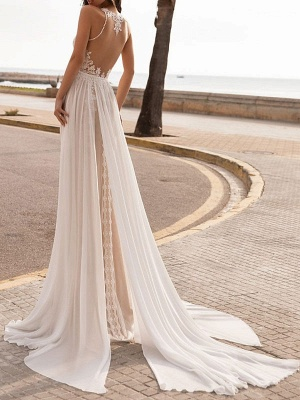 Ivory Wedding Dresses A Line With Court Train Sleeveless Applique Illusion Neckline Bridal Gowns_2