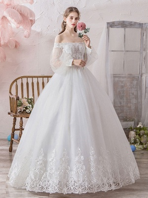 Princess Wedding Gowns 2021 Ball Gown Silhouette Off The Shoulder Long Sleeves Natural Waist Floor-Length Bridal Gowns_3