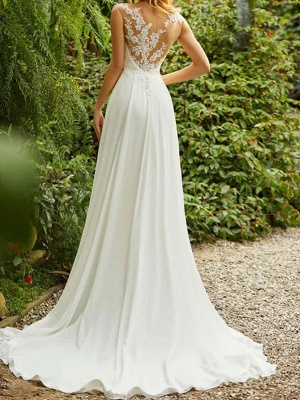Cheap Wedding Dresses 2021 Chiffon A Line V Neck Sleeveless Lace Beaded Bridal Gowns With Train_2