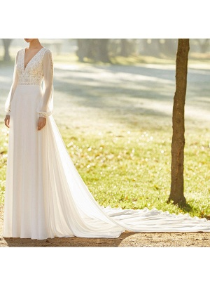 Ivory Wedding Dresses With Court Train A Line Long Sleeves Lace V Neck Bridal Gowns_4