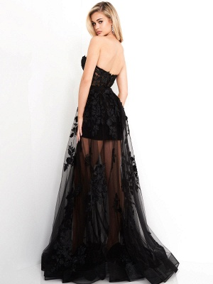 Black Gothic Bridal Dresses A-Line Floor-Length Strapless Neck Sleeveless Lace Bridal Gown_3