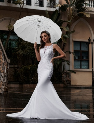 Customize Wedding Gowns With Train Sleeveless Beaded Square Neck Bridal Gowns_2