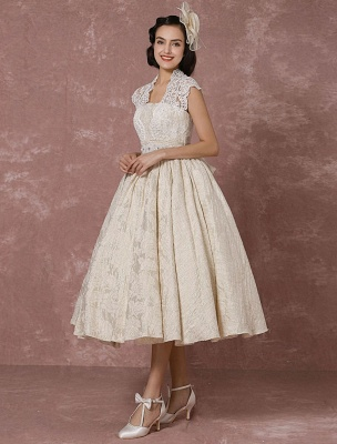 Short Wedding Dress Lace Champagne Vintage Bridal Dress Ball Gown Beading Backless Tea-Length Bridal Gown With Sash Exclusive_5